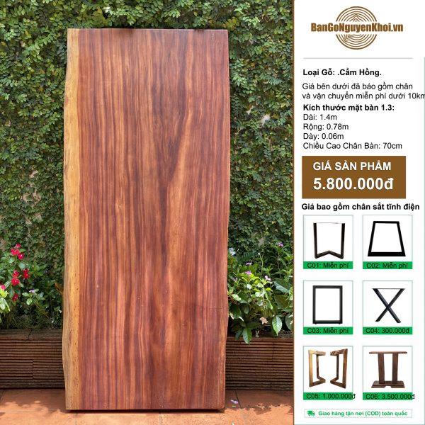bàn gỗ cẩm hồng nguyên khối 1m4