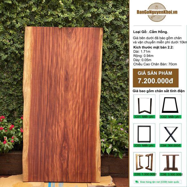 bàn gỗ cẩm hồng nguyên khối 1m71