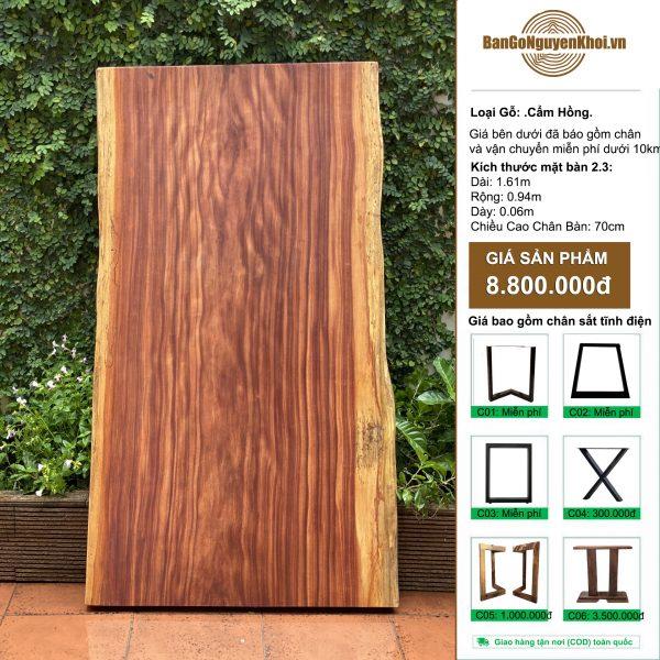 bàn gỗ cẩm hồng nguyên khối 1m61