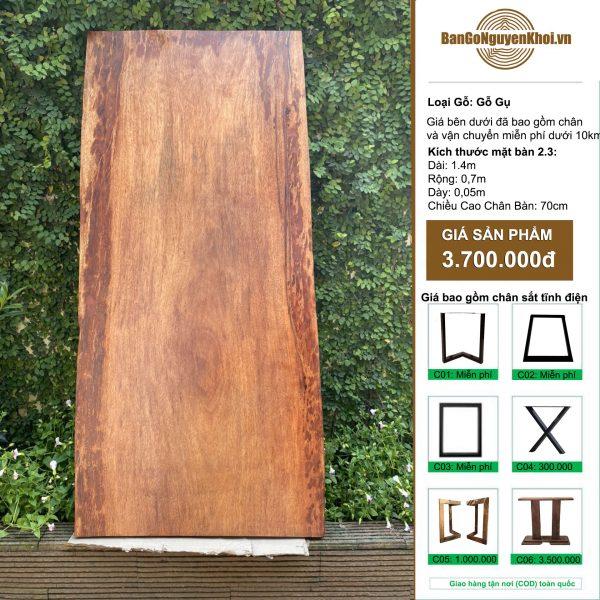 bàn gỗ gụ nguyên khối 1m4