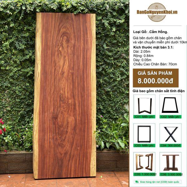 bàn gỗ cẩm hồng nguyên khối 2m05