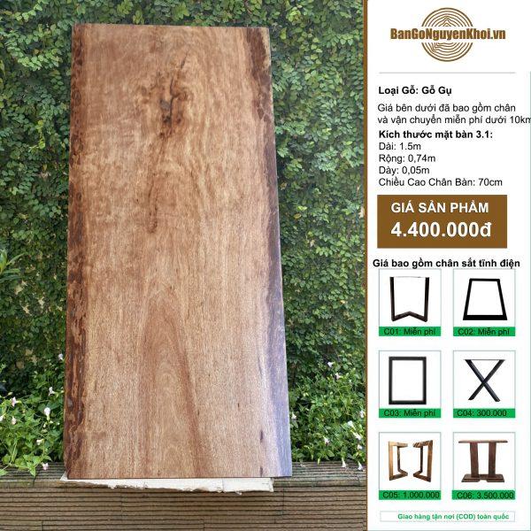 bàn gỗ gụ nguyên khối 1m5