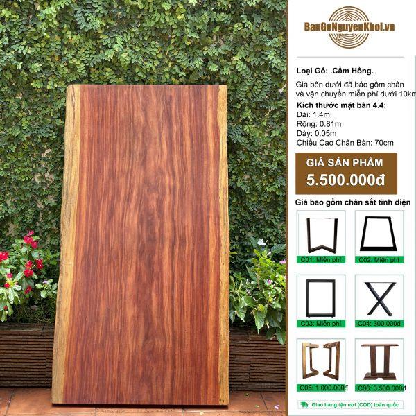 bàn gỗ cẩm hồng nguyên khối 1m49