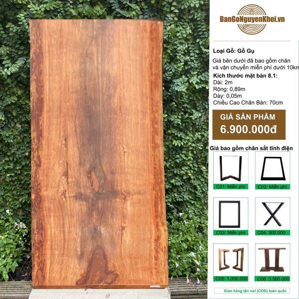 bàn gỗ gụ nguyên khối 2m