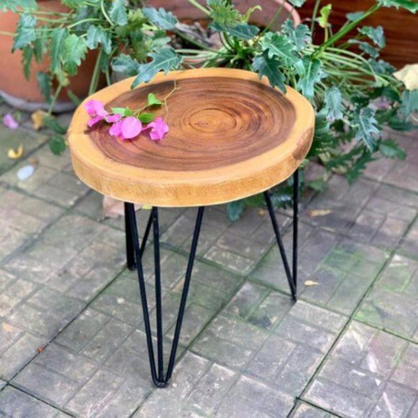 bàn cafe tròn gỗ me tây chân sắt hairpin