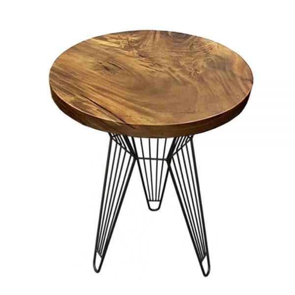 bàn tròn cafe gỗ me tây nguyên tấm chân sắt sọc phi