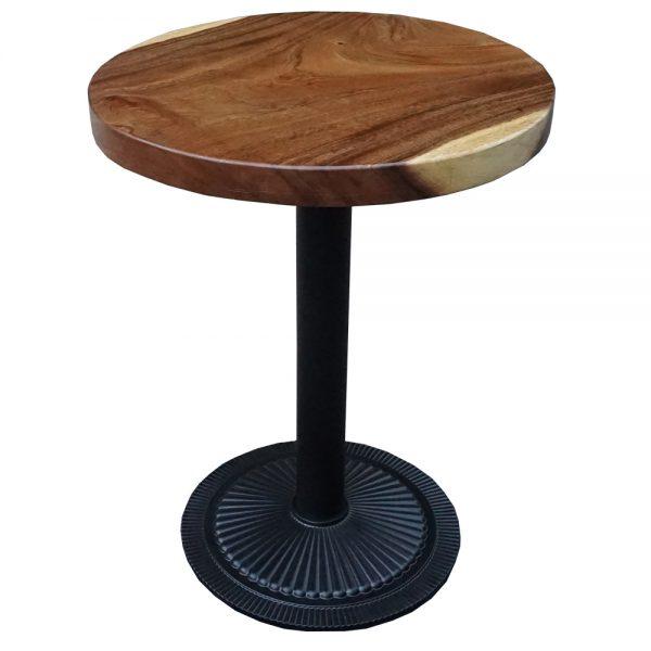 Bàn cafe tròn gỗ me tây chân sắt đế gang đúc