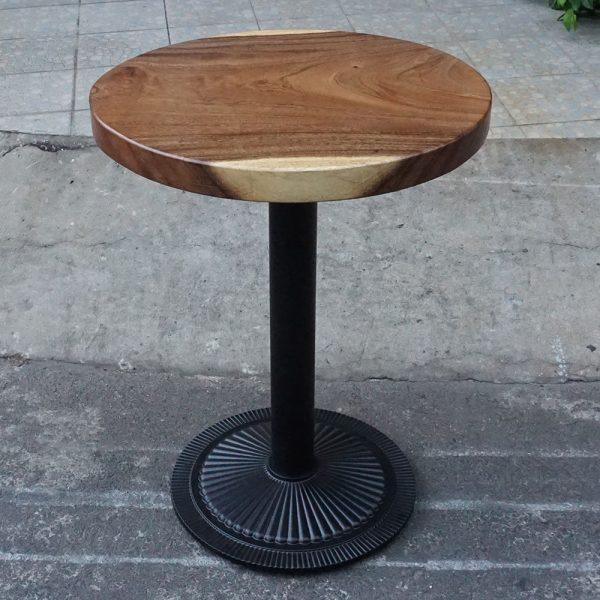 Bàn cafe tròn gỗ me tây chân sắt