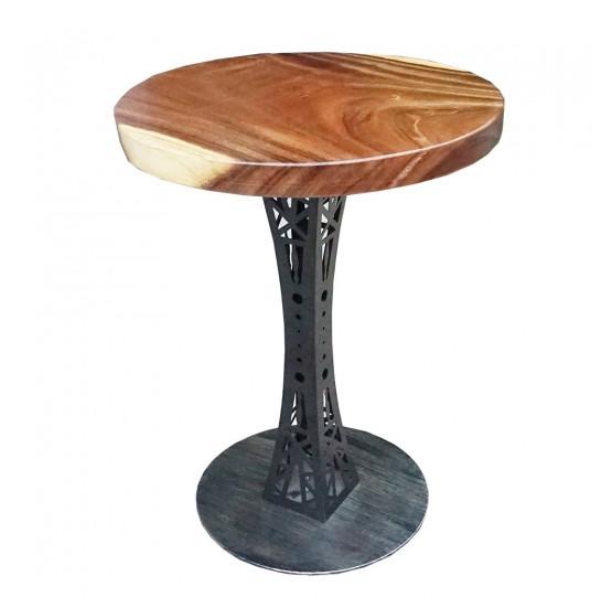 Bàn cafe tròn gỗ me tây chân sắt trụ Tháp Eiffel