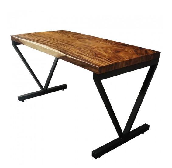 Bàn gỗ me tây 140x70 dày 5cm chân sắt chữ V
