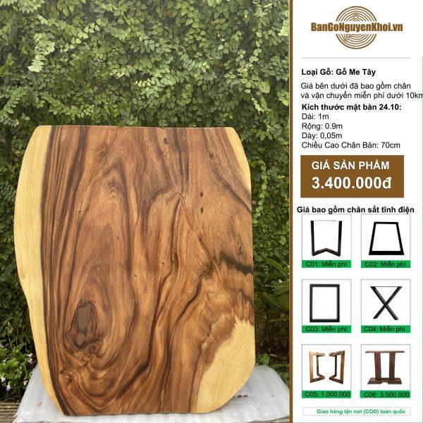 bàn tròn gỗ me tây nguyên tấm