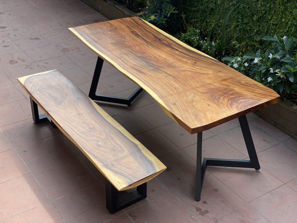 bộ bàn ghế gỗ me tây nguyên tấm