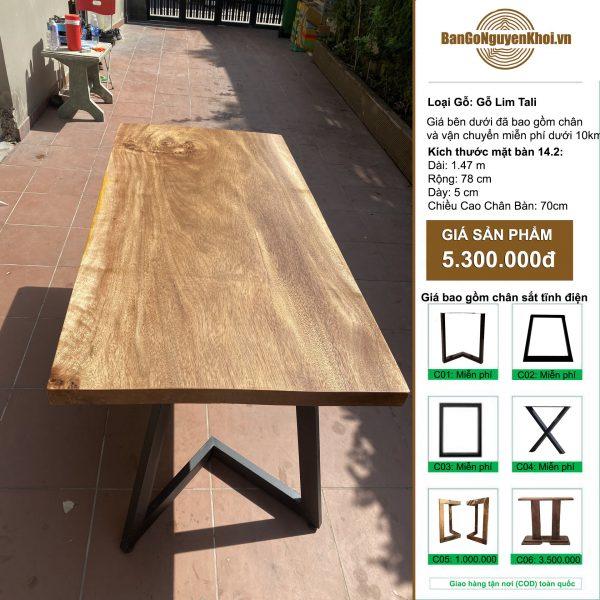 bàn gỗ Lim Tali đẹp tự nhiên, phong cách mộc