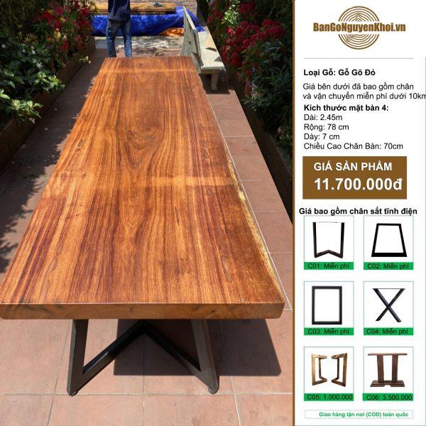 bàn gỗ gõ đỏ nguyên tấm dài 2m45
