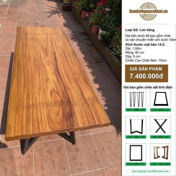 bàn gỗ Lim Vàng chân sắt sơn tĩnh điệnbàn gỗ Lim Vàng chân sắt sơn tĩnh điện