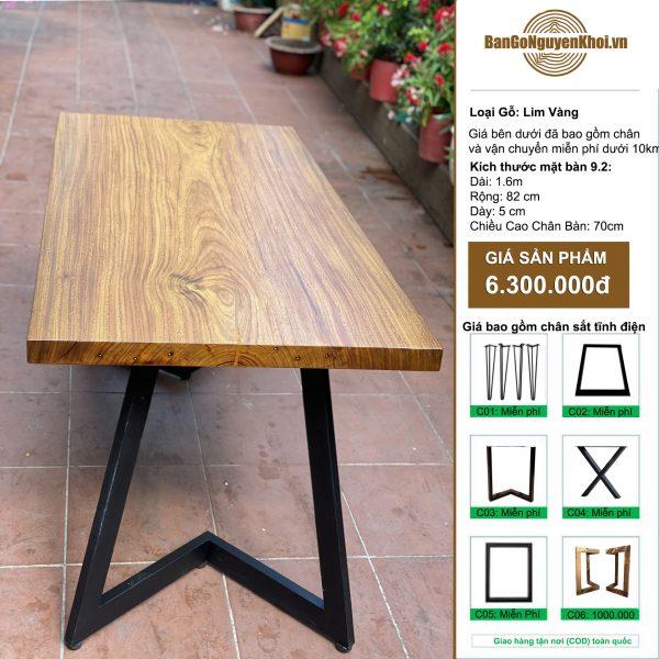 bàn gỗ Lim Vàng chân sắt sơn tĩnh điện