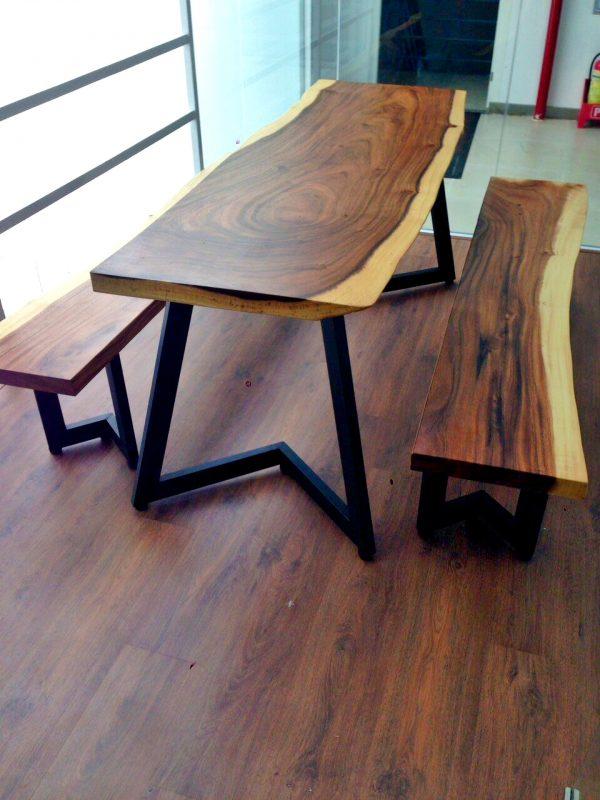 Bộ bàn ghế gỗ me tây nguyên tấm dài 1m8