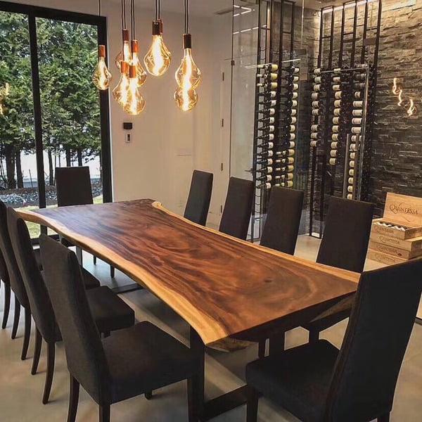 Bố trí decor khi dùng nội thất bàn gỗ nguyên tấm